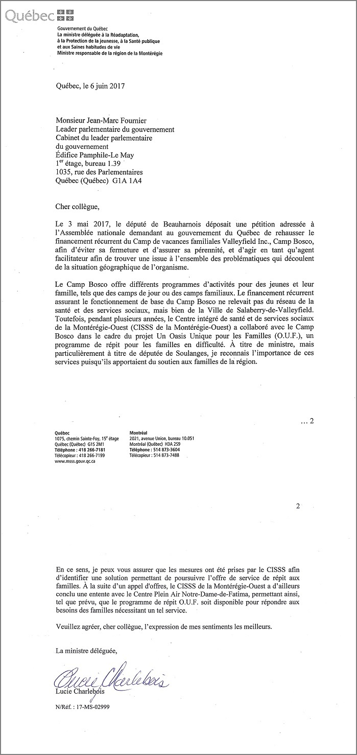 re CampBosco 2017 lettre LCharlebois a JMFournier Copie via GLeclair