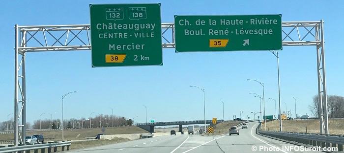 autoroute 30 Chateauguay panneau route 132 138 et boul Rene-Levesque Photo INFOSuroit