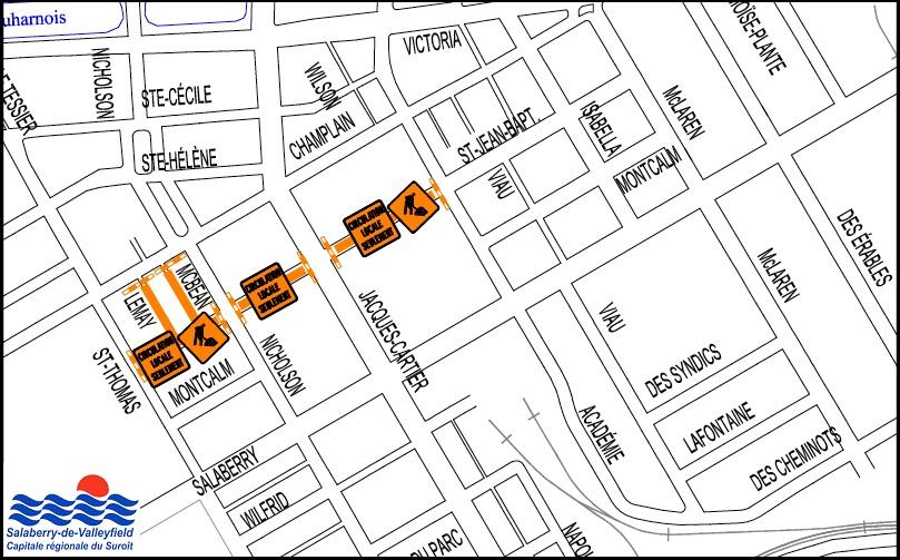 carte info-travaux Valleyfield pole institutionnel 28sept2017