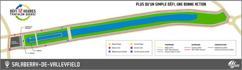 plan du parcours Defi12h TriathlonQc a Valleyfield visuel courtoisie