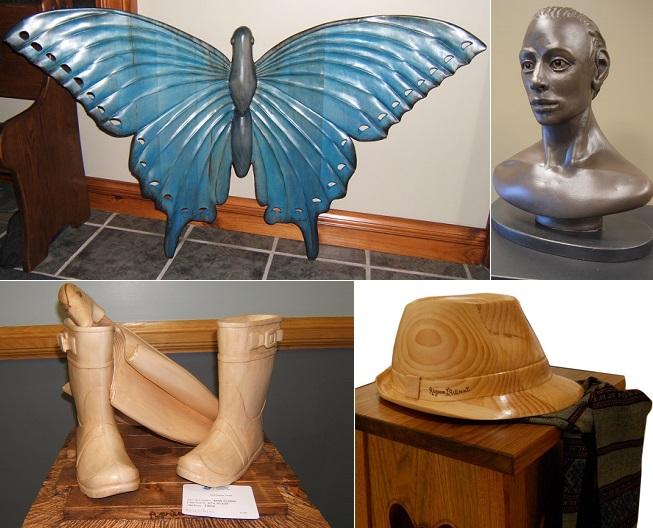 sculptures de artiste Rejean_Laniel Papillon_bleu Buste Bottes_de_pluie et Chapeau Photos courtoisie MRC