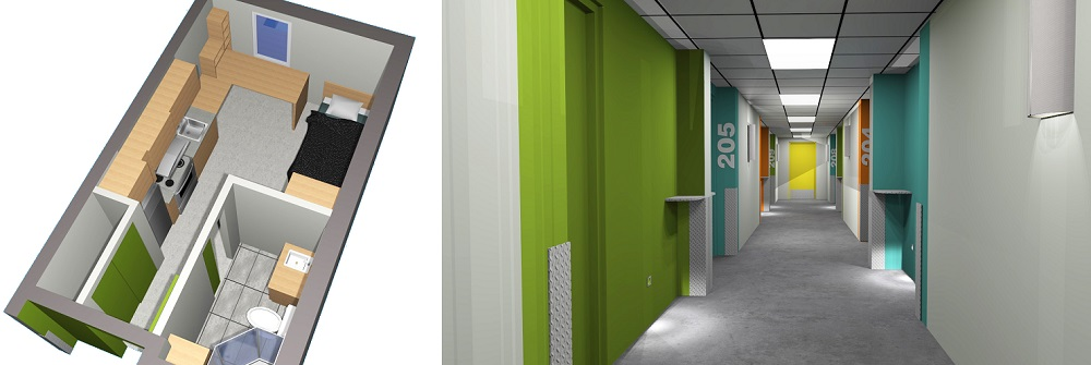 CollegeValleyfield residence etudiante plan studio et corridor images courtoisie oct2017