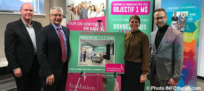 Fondation Hopital VVeilleux YMasse PDG CISSSMO KFavreauOBrien et HDesrosiers Photo INFOSuroit