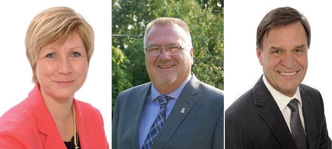 Nathalie_Simon Steve_Brisebois et Pierre-Paul_Routhier candidats mairie Chateauguay 2017 Photos courtoisie