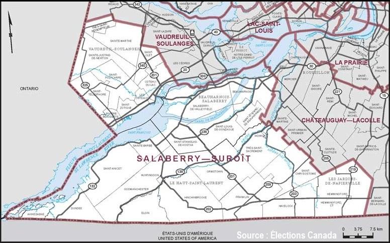 carte circonscription federale Salaberry-Suroit via Elections Canada