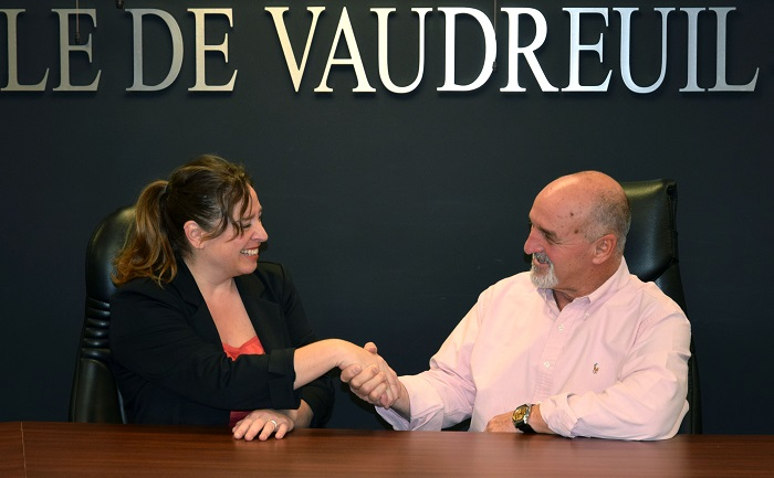Chantal_Bedard Csur tv et Guy_Pilon maire Vaudreuil-Dorion photo courtoisie VD