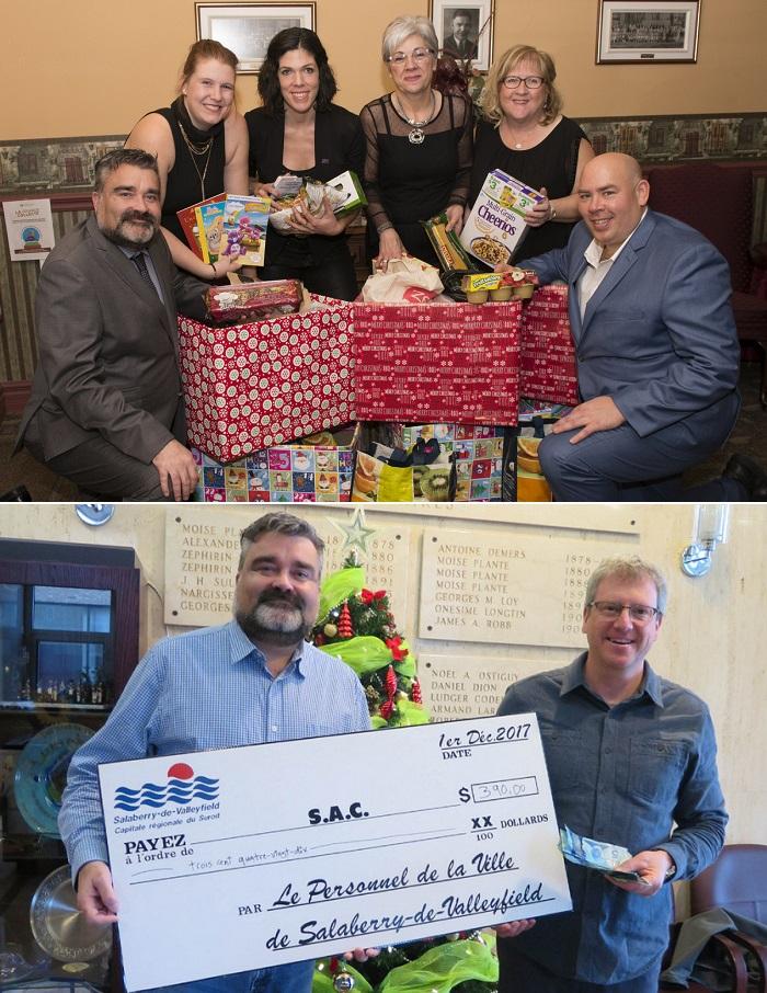 Ville Valleyfield Comite organisateur party de Noel des employes denrees pour MoissonSudOuest et remise cheque SAC