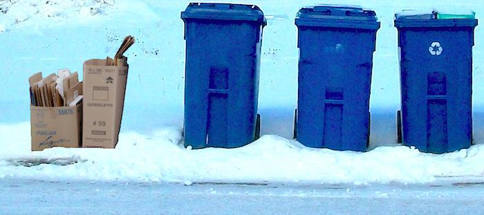 collecte speciale de carton surplus bacs recuperation hiver photo via MRC