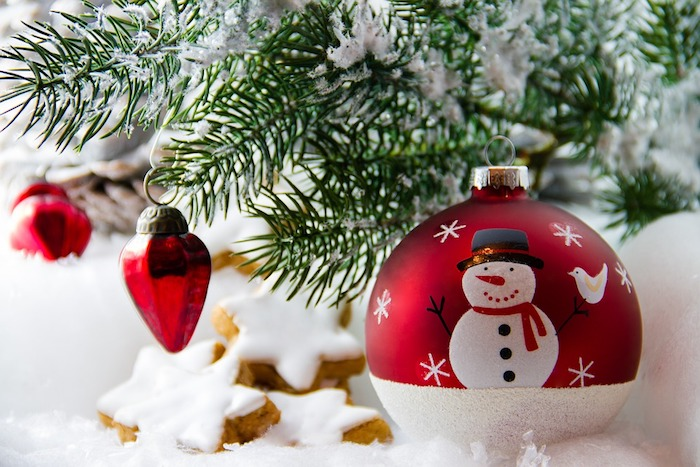 sapin Noel boule de Noel bonhomme neige Photo Holoho via Pixabay CC0