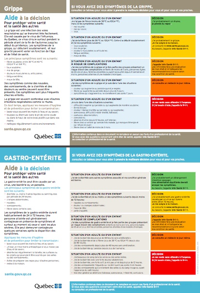 tableau symptomes grippe et gastro visuel courtoisie CISSSMO