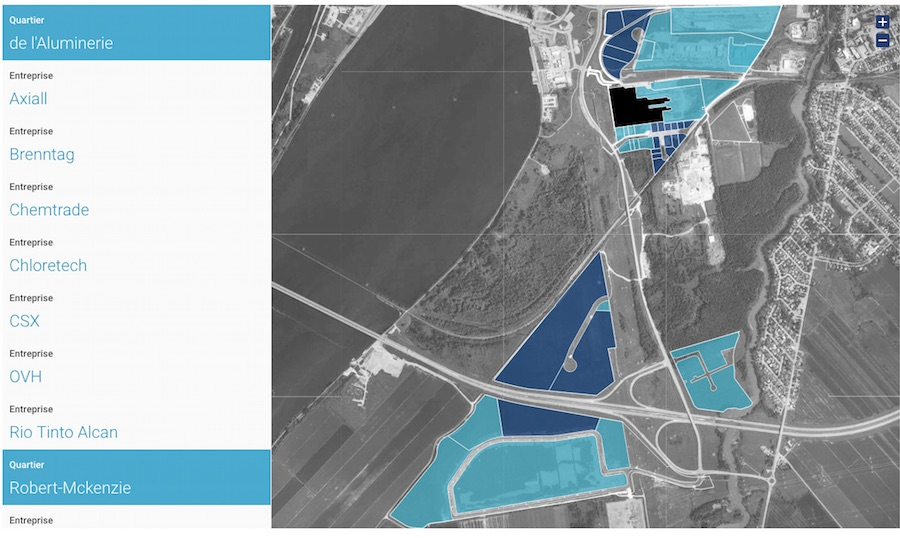 parc industriel Ville de Beauharnois carte interactive 2018 image courtoisie