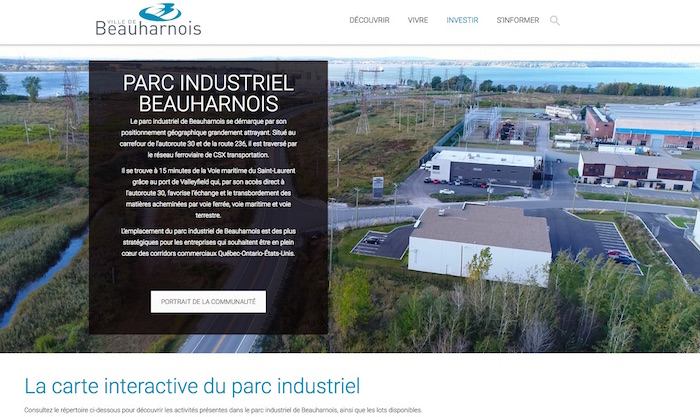 site web Ville Beauharnois section parc industriel capture ecran