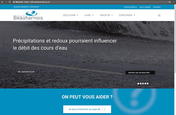 Site web Beauharnois capture ecran mars 2018