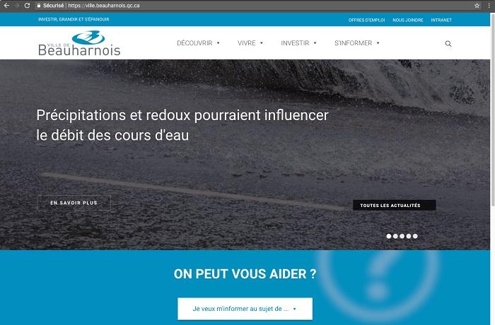 Site web Beauharnois capture ecran mars 2018