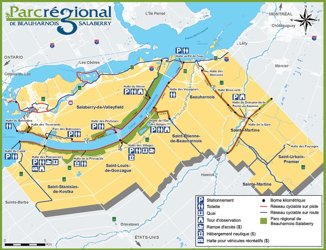 carte Parc regional Beauharnois-Salaberry extrait depliant MRC