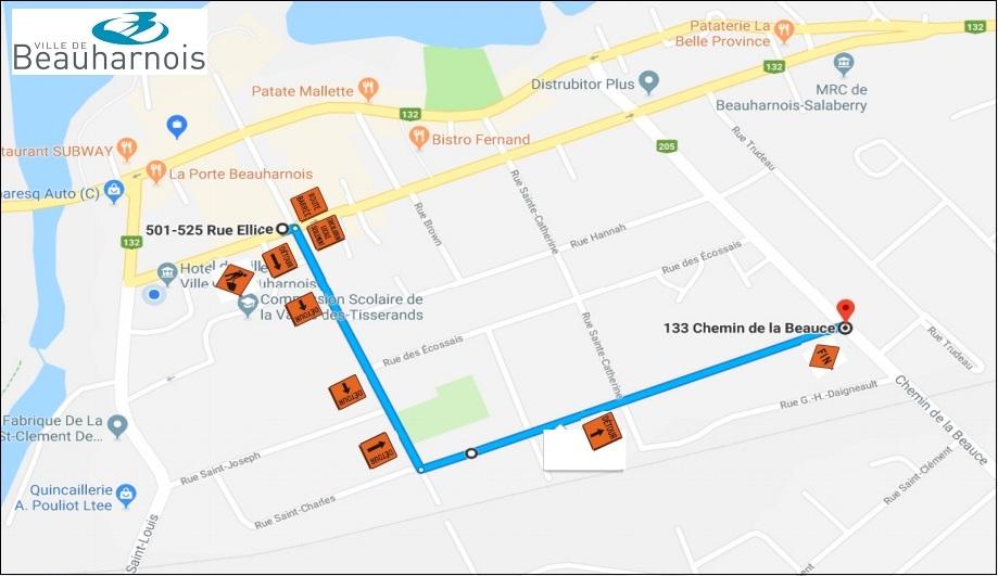 carte detour travaux 22 mars 2018 a Beauharnois image courtoisie Ville Beauharnois