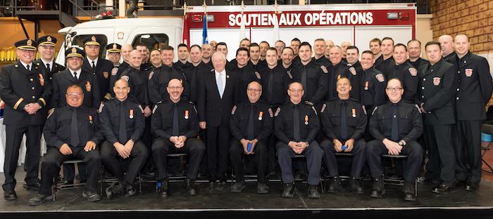 pompiers ville Chateauguay ceremonie remise medailles du Gouverneur photo courtoisie VC