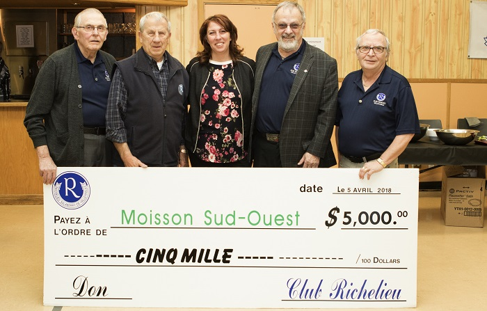 Club Richelieu remise cheque 2018 journee Spaghetti Moisson Sud-Ouest photo courtoisie