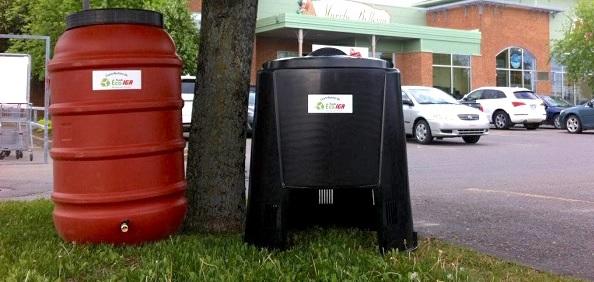 baril recuperateur eau de pluie et bac a compost Fonds Eco IGA pour Jour de la Terre photo courtoisie