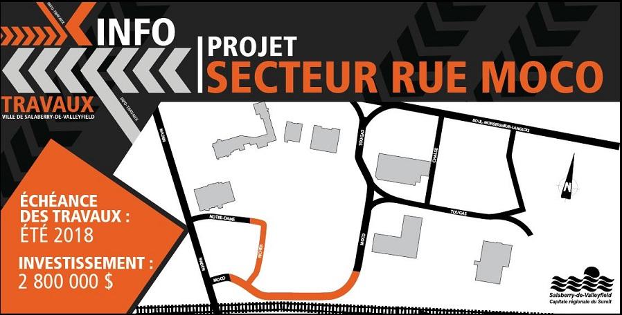 carte projet travaux rue Moco et Notre-Dame a Valleyfield visuel courtoisie