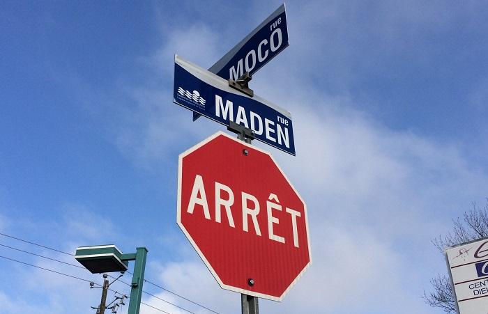 signalisation arret rues Moco et Maden a Valleyfield photo courtoisie SdV