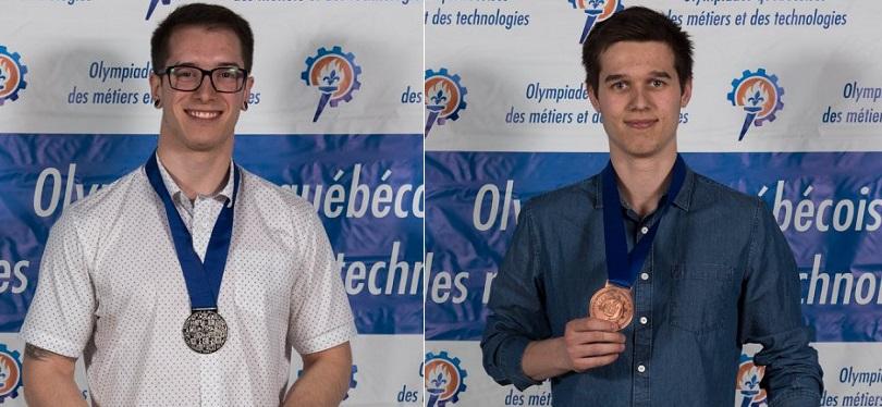 Olympiades des metiers 2018 medailles du College Valleyfield Nicolas_Perreault et Etienne_Bouffard photo via ColVal