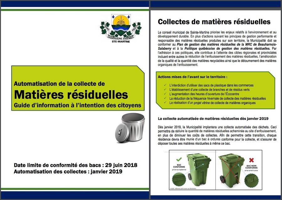 depliant Matieres residuelles Guide information pour citoyens de Sainte-Martine 2 pages