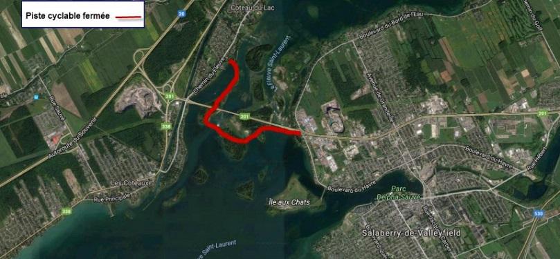 fermeture piste cyclable barrages entre Coteau-du-Lac et Valleyfield visuel courtoisie HQ publie par INFOSuroit