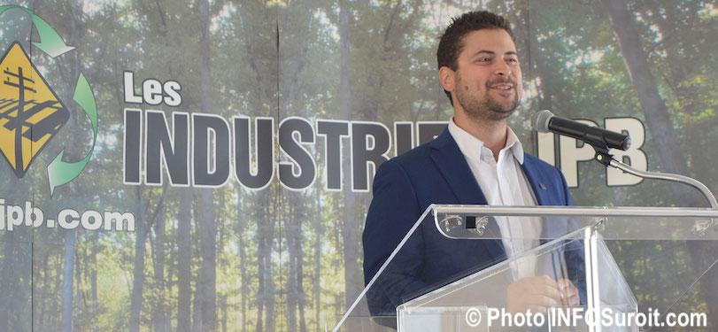 maire valleyfield Miguel Lemieux annonce chez Industries JPB 28mai2018 photo INFOSuroit