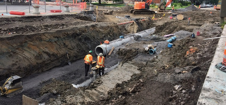 travaux infrastructures egout aqueduc conduites rue Salaberry Valleyfield photo courtoisie SdV