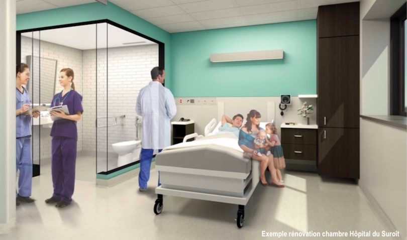 Exemple chambre Hopital du Suroit Valleyfield projet renovation visuel Fondation Hopital Suroit