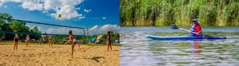 Plage du parc regional des iles de St-Timothee volleyball et kayak photos courtoisie SdV