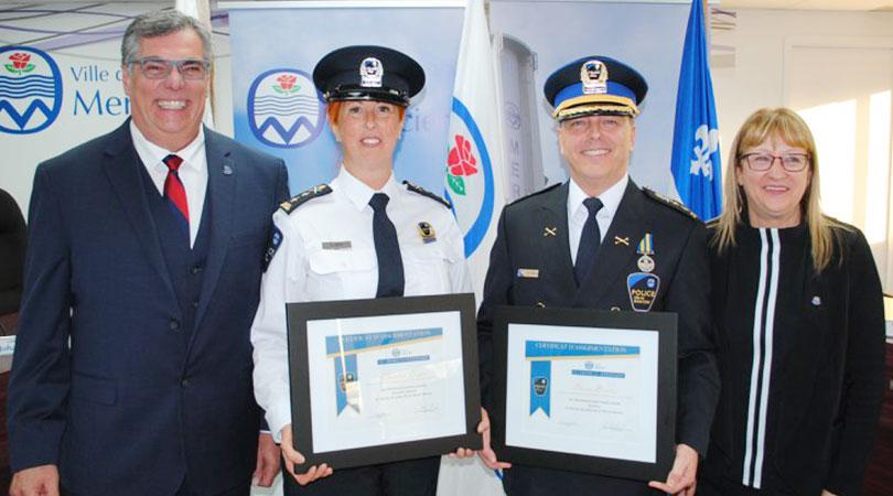 assermentation nouvelle direction Service police Mercier avec DG et mairesse photo courtoisie
