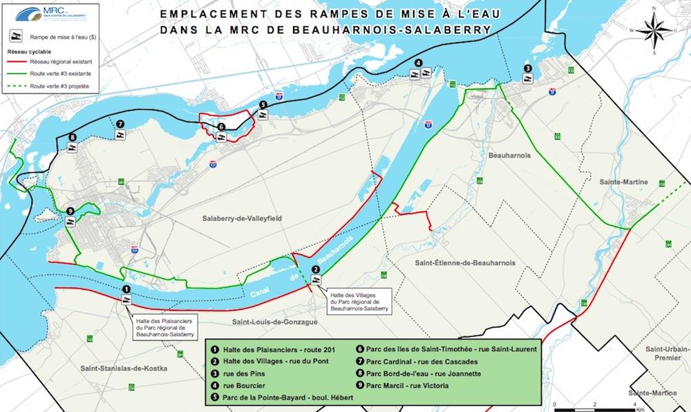 carte 2018 emplacement rampes mise-a-l-eau MRC Beauharnois-Salaberry