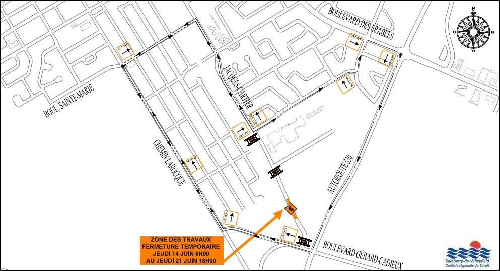 carte fermeture rue Jacques-Cartier a Valleyfield juin 2018 visuel courtoisie SdV publie par INFOSuroit