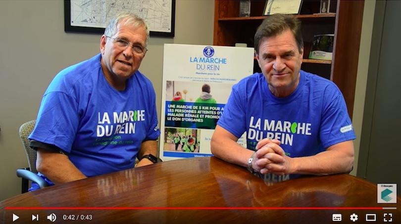 conseiller municipal Michel Enault et maire de Chateauguay Pierre-Paul_Routhier pour Marche du rein extrait video YouTube VC