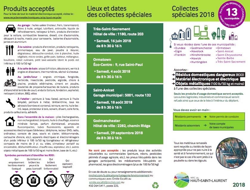 depliant 2018 collectes speciales RDD et informatique MRC Haut-Saint-Laurent