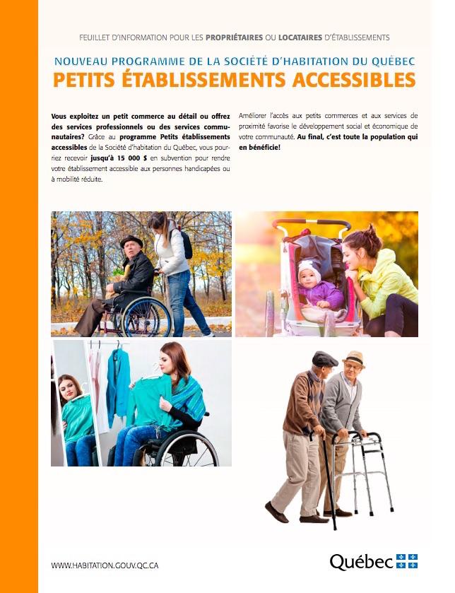 feuillet information programme Petits etablissements accessibles visuel courtoisie MRC