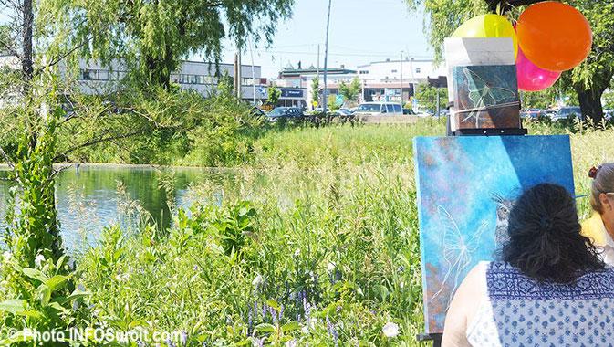 lancement journees animees 2018 artistes-peintres pres Vieux canal et pont Jean-DeLaLande photo INFOSuroit