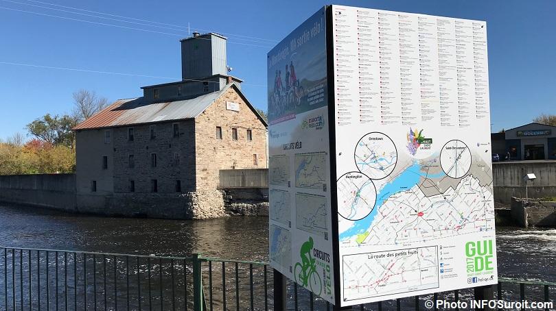 tourisme Haut-Saint-Laurent panneau et cartes velo et attraits riviere Chateauguay a Huntingdon photo INFOSuroit