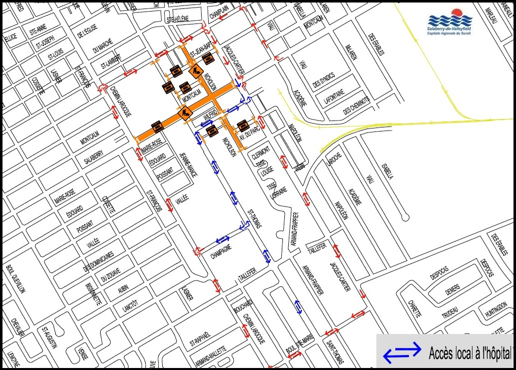 carte travaux pole institutionnel Valleyfield 10juillet2018 visuel courtoisie SdV