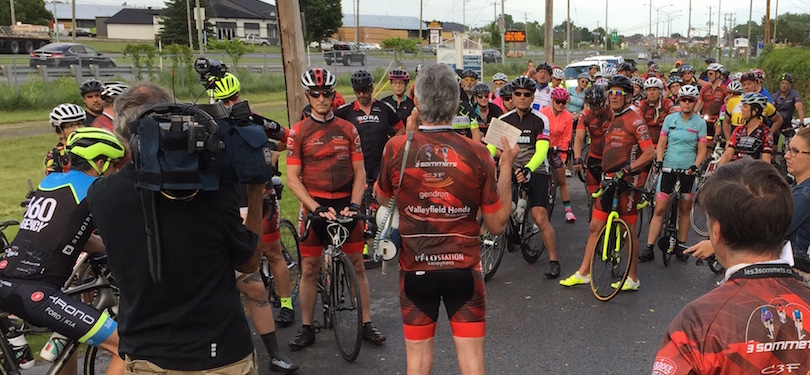 manifestation cycliste Club Les_3_Sommets 20juin2018 piste cyclable pres pont Mgr-Langlois photo courtoisie