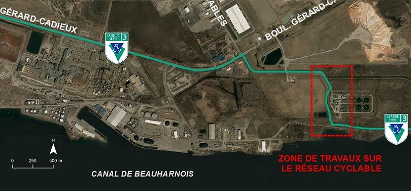 piste cyclable Route 3 Parc regional Beauharnois-Salaberry travaux a Valleyfield juillet2018 carte et visuel via MRC