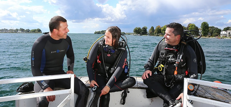 plongee sous-marine EcoDive Valleyfield 3 plongeurs lac St-Francois photo courtoisie CLD