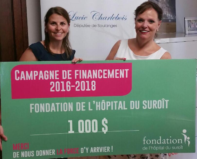 Don a la Fondation hopital du Suroit K_Favreau-OBrien et Lucie_Charlebois photo courtoisie FHS