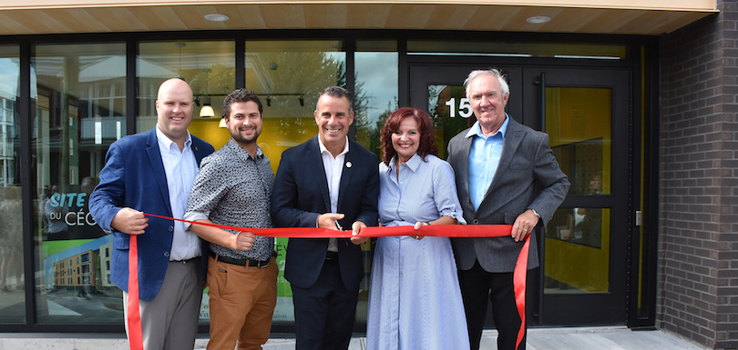 Inauguration residence College Valleyfield aout 2018 MFaubert MLemieux SBillette SGrondin et JCLecompte photo ColVal