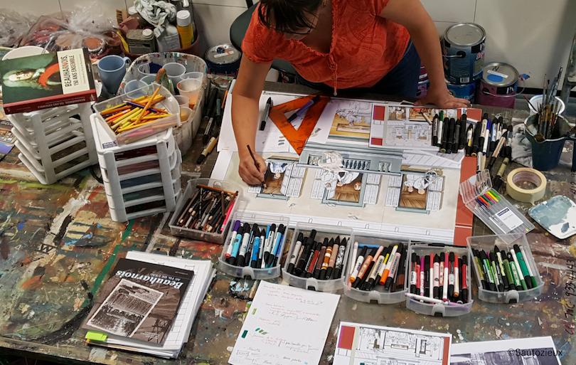 artiste Ateliers Sautozieux travaillant sur fresque de Beauharnois Photo Sautozieux via Ville Beauharnois