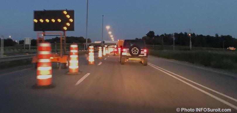 fermeture nuit autoroute 30 pres A40 et A20 Vaudreuil-Dorion cones oranges photo INFOSuroit