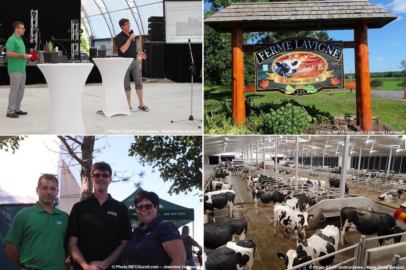fete 2018 Coop Unifrontieres a Ferme_Lavigne JS_Leblanc S_Brault etable avec vaches enseignes et plus photos INFOSuroit-Jeannine_Haineault et Coop_Unifrontieres-MP_Brisson