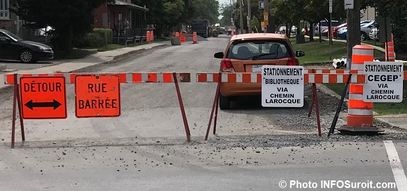 travaux detour rue barree rue St-Thomas coin Champlain a Valleyfield aout2018 photo INFOSuroit